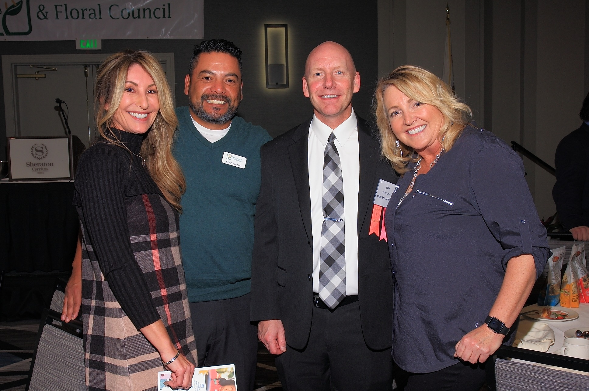 Therese Ferrara of Preferred Sales with Ernie Perazza of House Foods America, Master of Ceremonies Don Gann of Stater Bros. Markets and Mary Lou Ureta of FreshSource, LLC