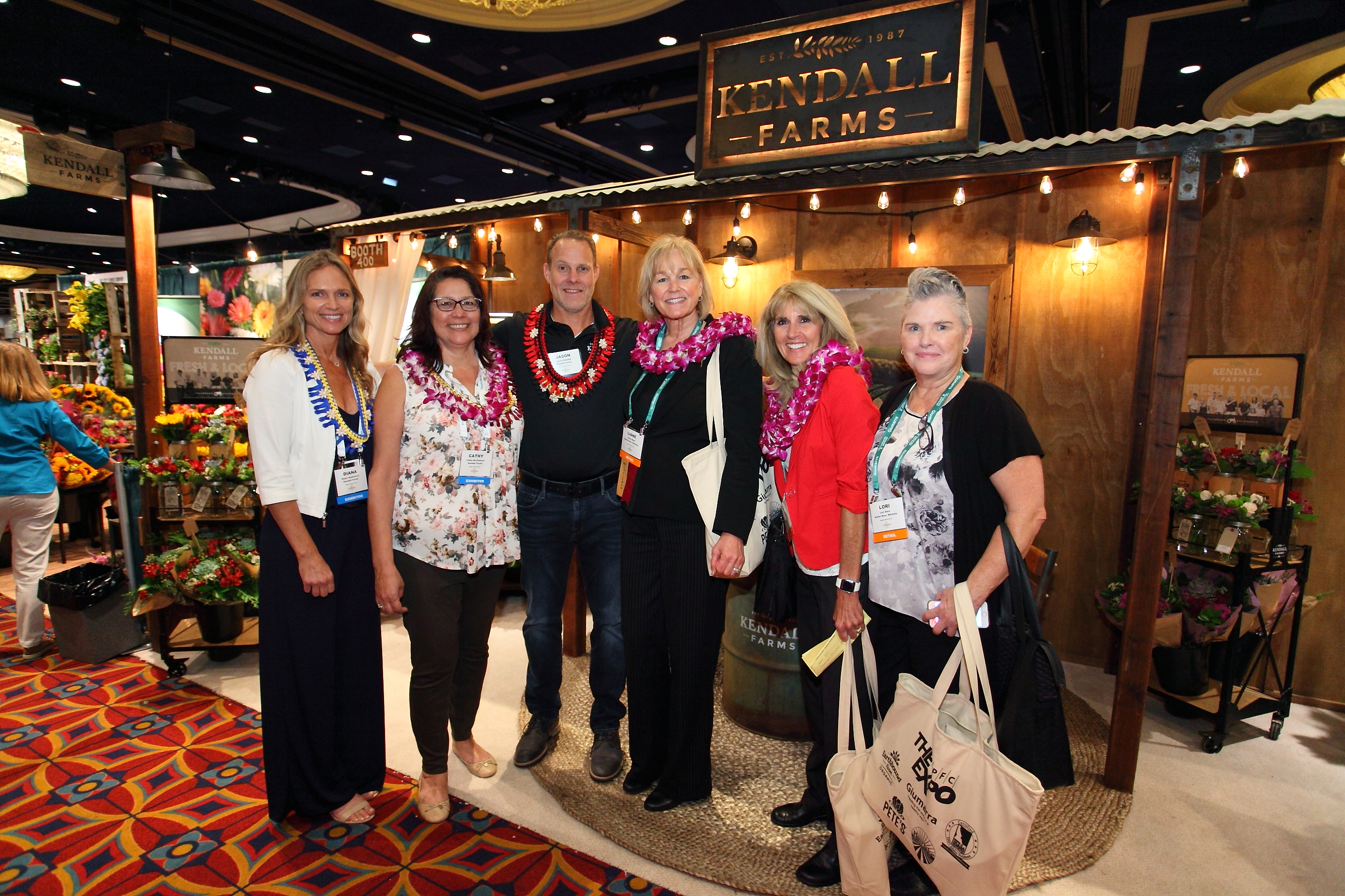 Diana Radestock, Cathy McClintock and Jason Kendall from Kendall Farms with Liane Mast, Cindy Schmitz and Lori Doro from Stater Bros. Markets