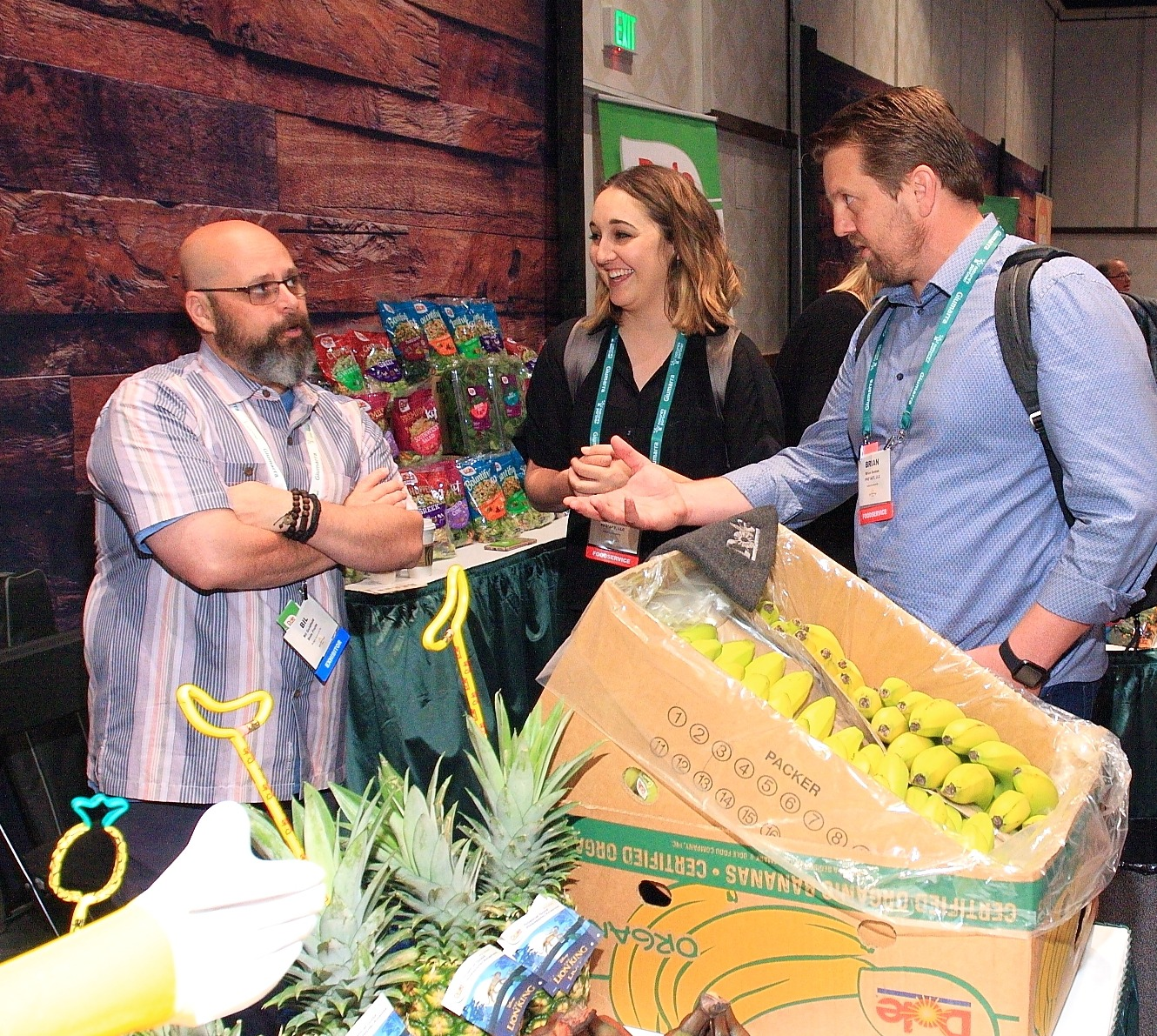 Big Goldfield from Dole Fruits discusses bananas with Mackenzie Lovelace and Brian Denton from PRO*ACT