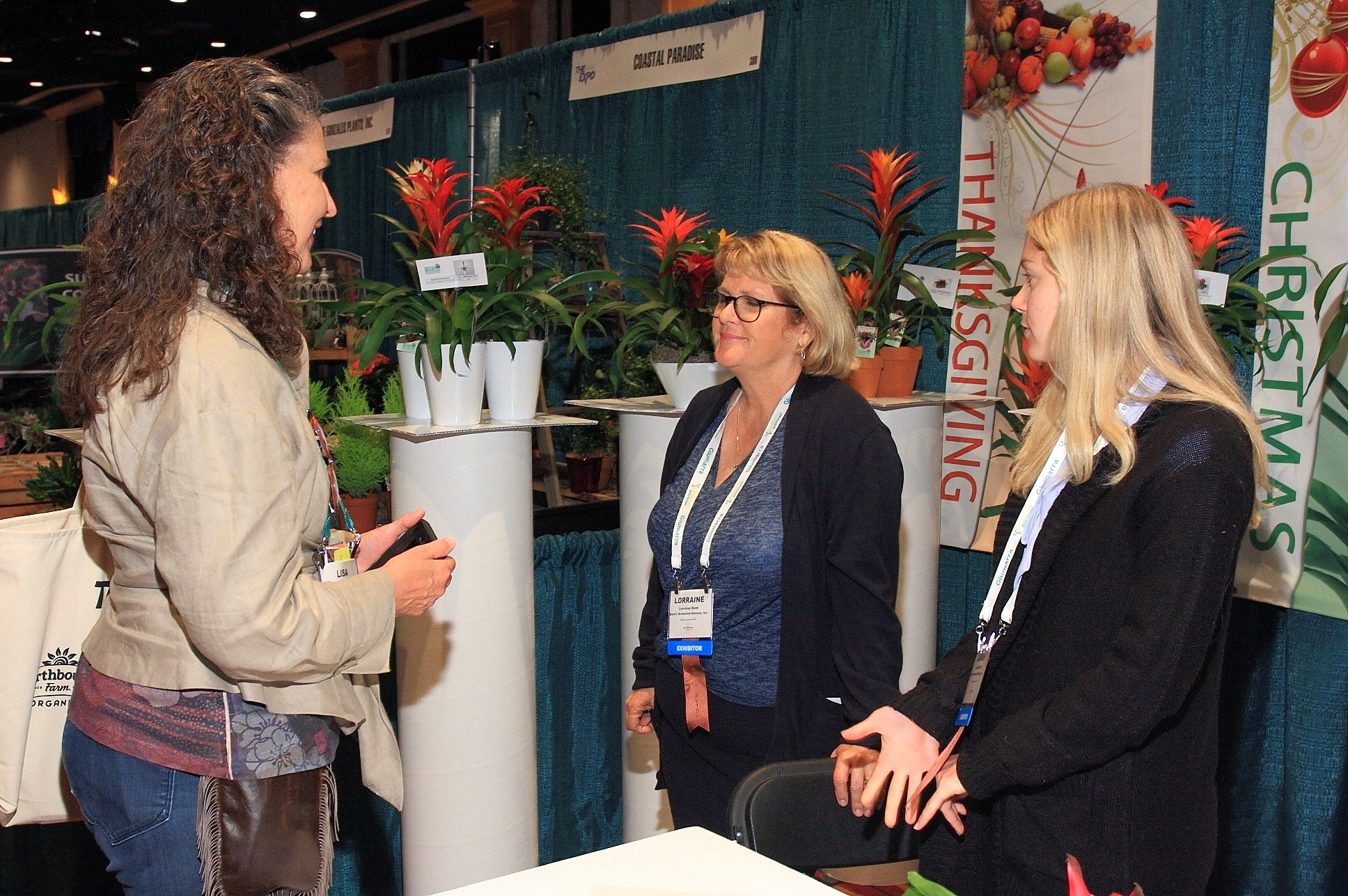 Lisa Blake from Armstrong Garden Centers catches up with Lorraine Kent and Lauren Kent from Kent's Bromeliad Nursery