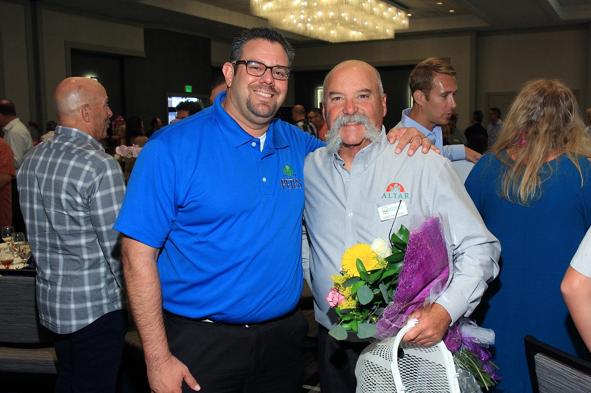 Brian Cook of Pete's with Dino Iacovino of Atlar Produce, LLC, patient speaker and cancer survivor.