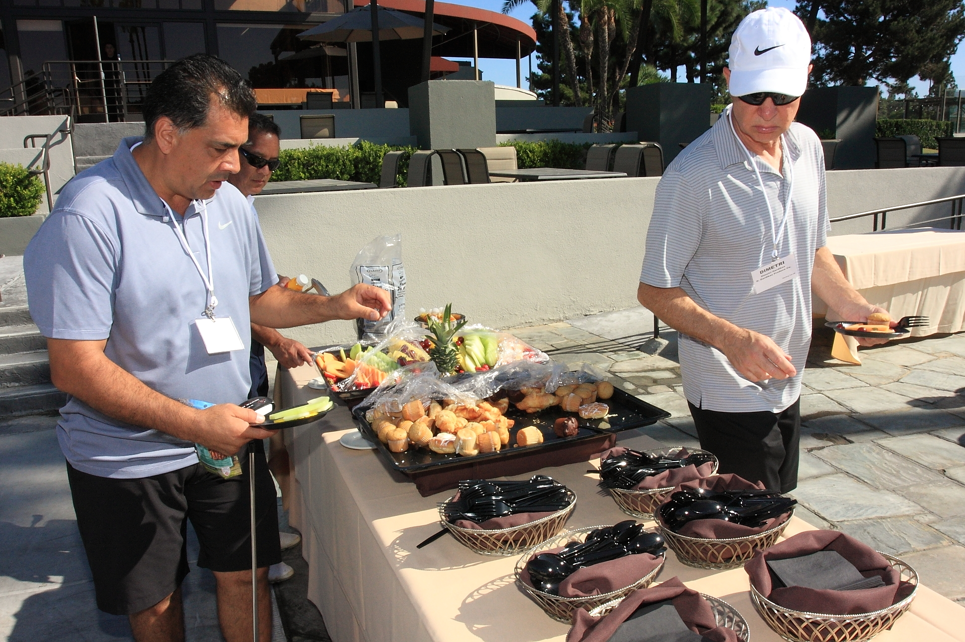 Golfers grabbing breakfast before heading out on the course.