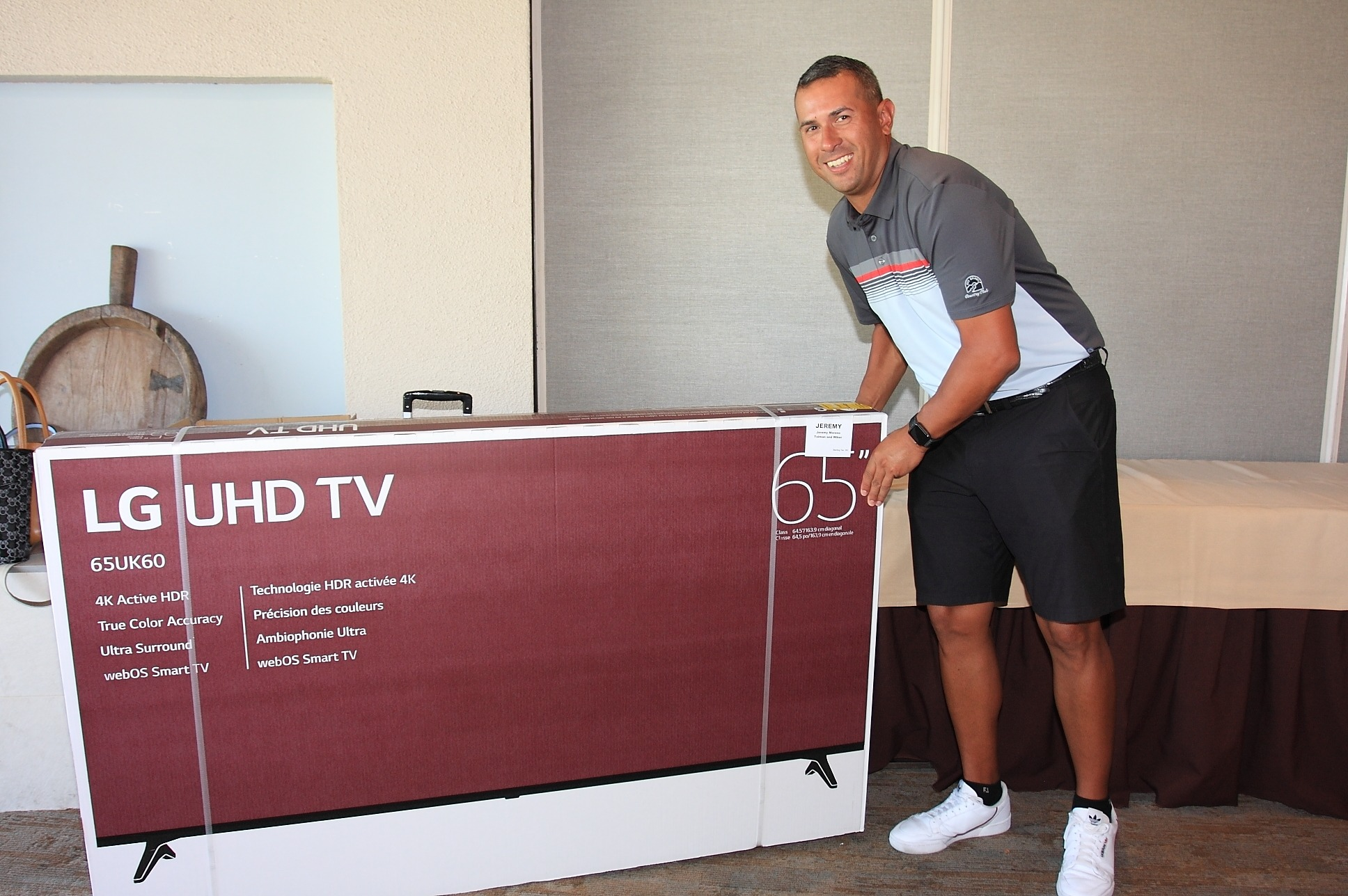 "Jeremy Moreno from Tolman and Wiker won a new 65"" LG TV."
