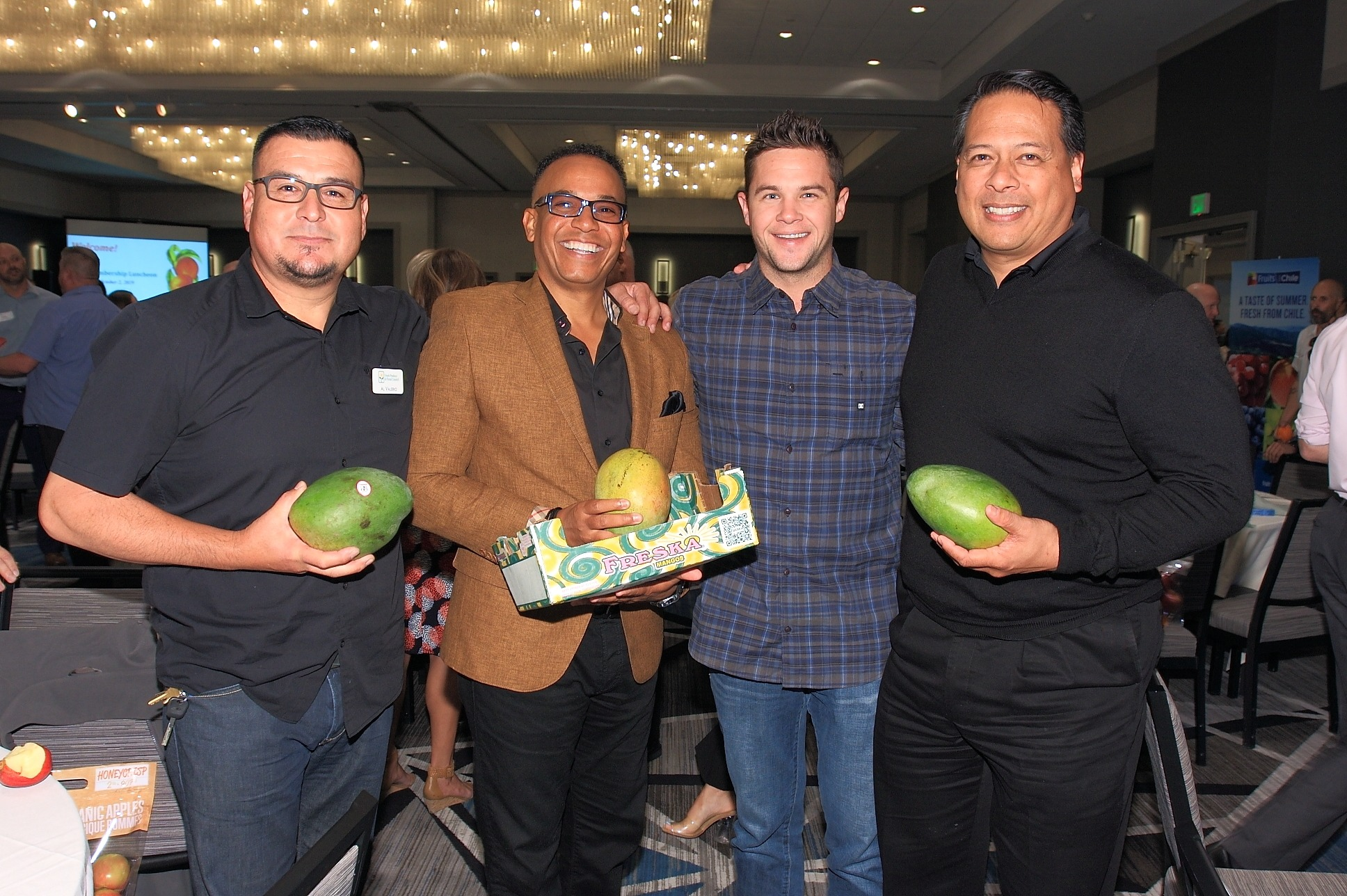 Al Valerio of Freska Produce with Robert Thompson of FreshSource, LLC.; Hayes Hanlon of Freska Produce and Marvin Quebec of Quebec Distributing Co.