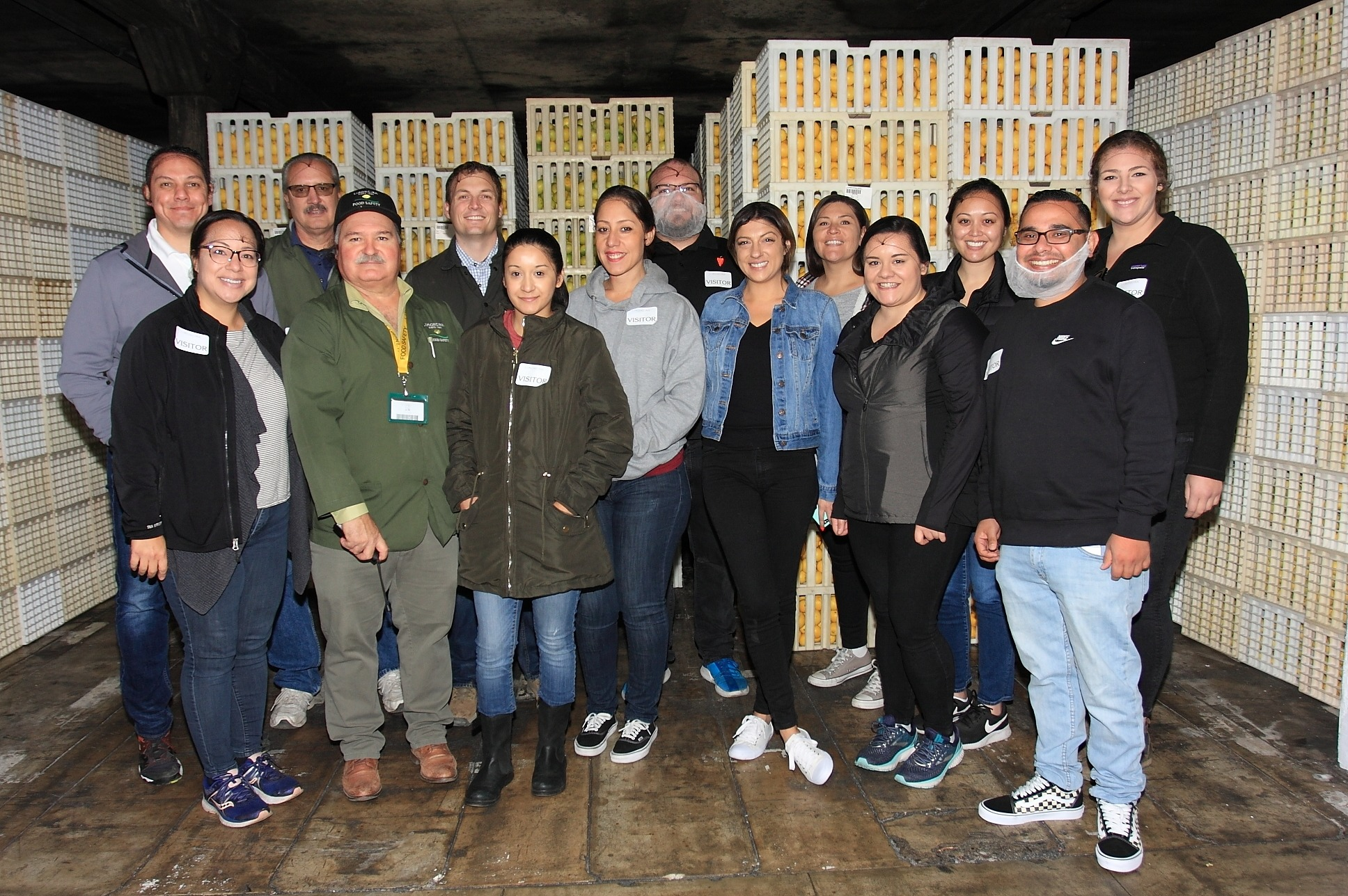In the basement of Limoneira with Tomas Gonzalez, Director of Global Food Safety & Compliance and Apprentice Committee member, Emily Fragoso of MIXTEC Group; with Apprentices Esmeralda Mejia, Denise Gonzalez, Jessica Garcia, Destiny Dulaney, Jose Morales, Jeffrey Fish, Kevin Trisko, Thomas Rossi, Julie Boland, Amanda Nojadera, and Briana Giampaoli.