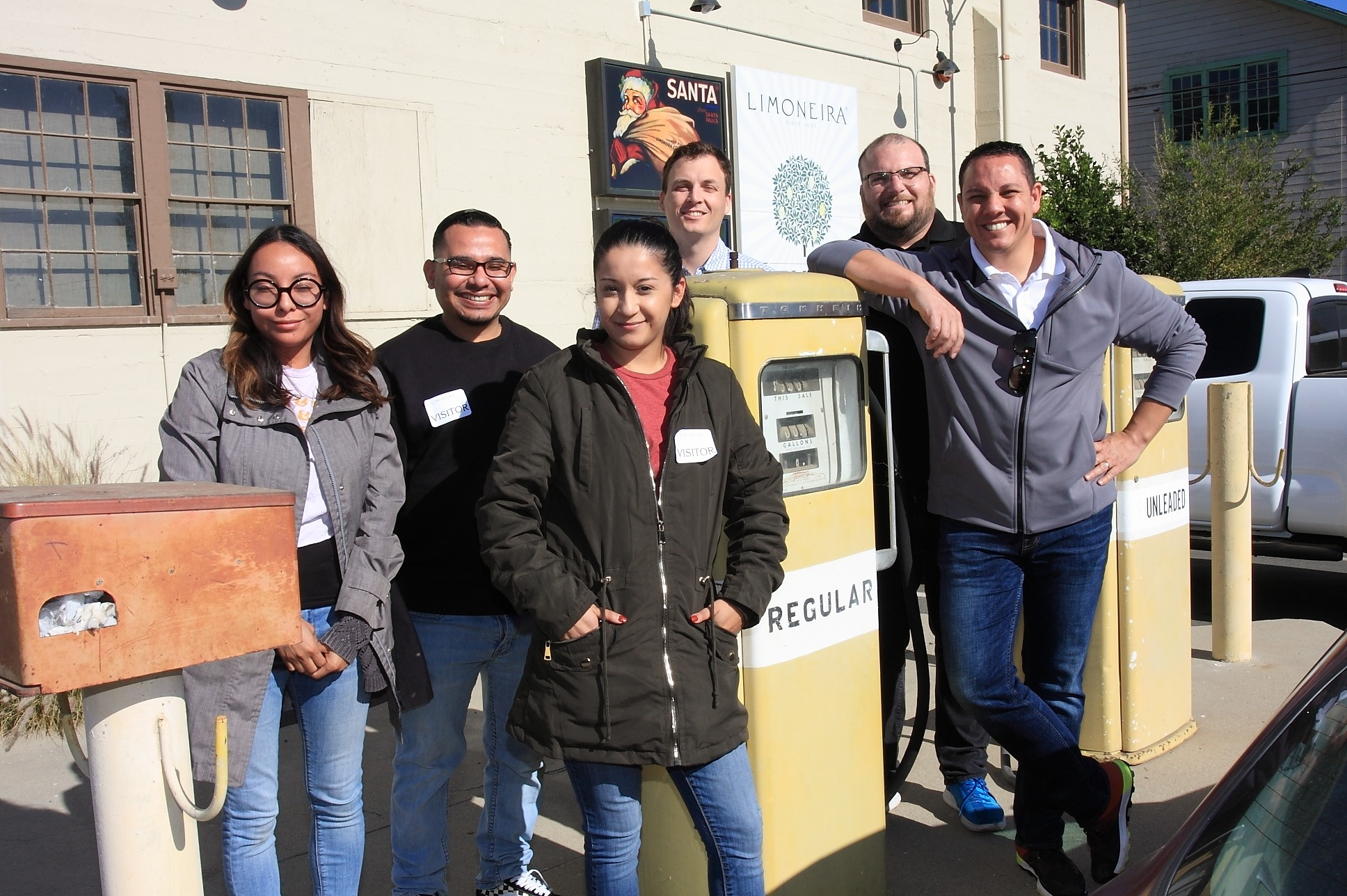 FPFC Apprentices Lizbeth Reyes, Jose Morales, Esmeralda Mejia, Kevin Trisko, Thomas Rossi, and Jeffrey Fish pose for a quick picture at Limoneira's Visitor Center.